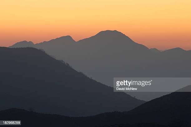Night falls in the mountains of Angeles National Forest on October 2 2013 in the San Gabriel Mountains northeast of Los Angeles California The...