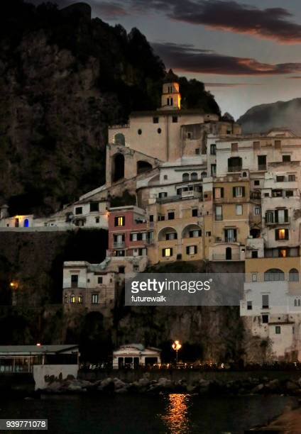 Night falls on Amalfi, Italy