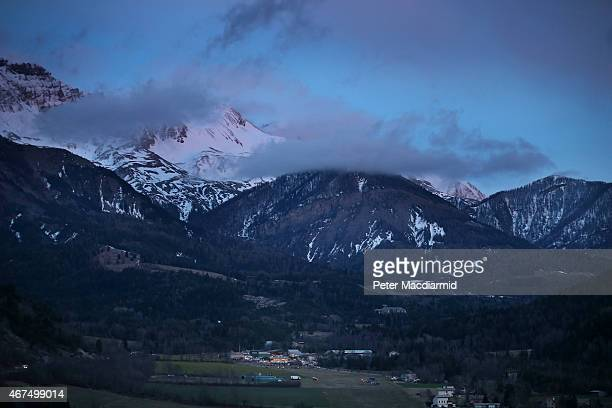 Night falls on the alps near the area where a Germanwings flight crashed on March 25 2015 in Seyne France Germanwings flight 4U9525 from Barcelona to...