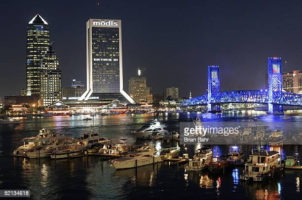 Night falls over downtown Jacksonville on February 4, 2005 before Super Bowl XXXIX in Jacksonville, Florida.