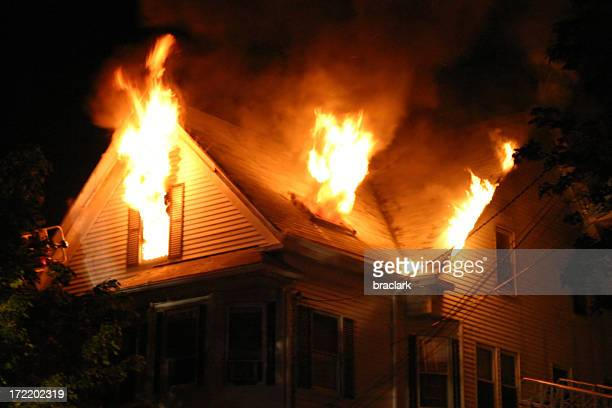 night fire - house stock pictures, royalty-free photos & images