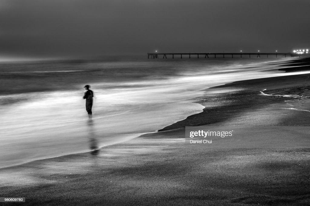 Night Fisherman, Pacifica, California : Stock Photo