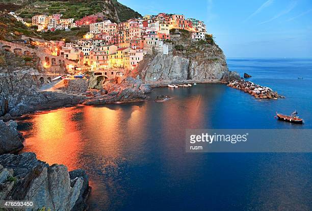 Night fishing village Manarola, Cinque Terre, Italy