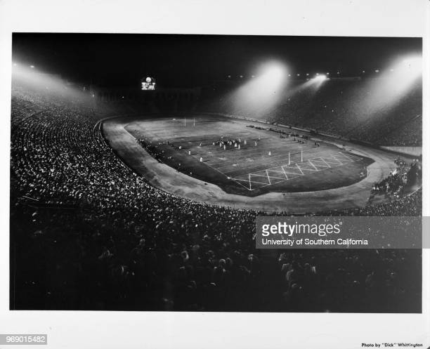 Night football game at the Coliseum in Exposition Park, Los Angeles, California, early to mid twentieth century.