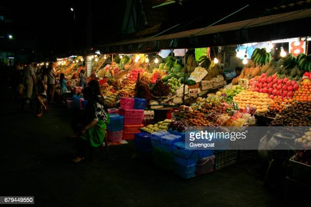 night fruit market in pattaya - mangosteen stock photos and pictures