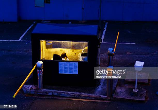night guard booth , staffed, with entry gate, closed - marcoventuriniautieri stock pictures, royalty-free photos & images