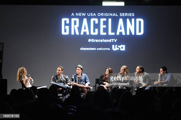 EVENTS SXSW @Night Hosted by USA Network's Graceland in Austin TX on Monday March 11 2013 Pictured Cat Greenleaf Daniel Sunjata Aaron Tveit Vanessa...