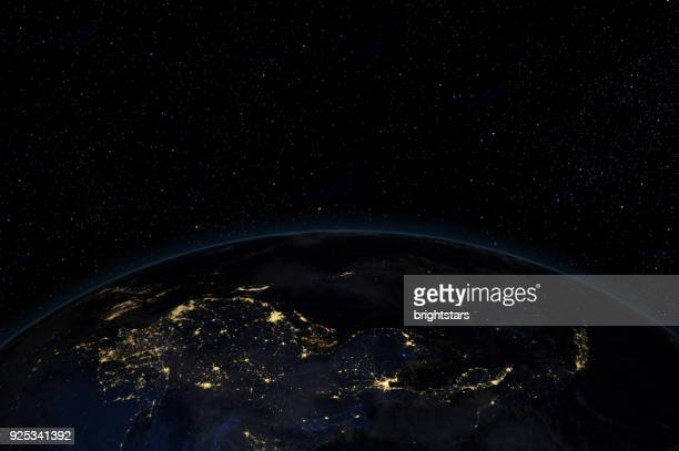 Night in Asia from space