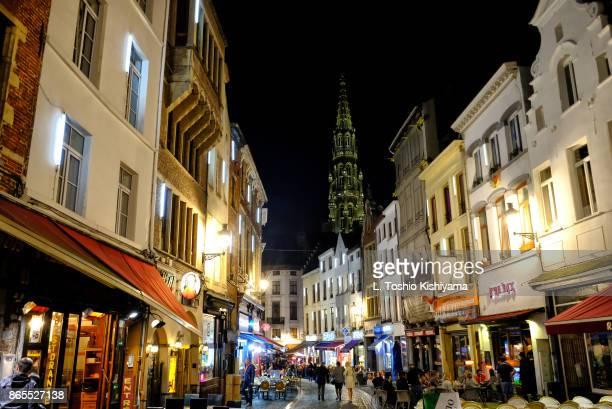 night in brussels, belgium - グランプラス ストックフォトと画像
