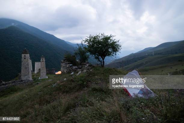 a night in caucasian mountains of ingushetia/chechnya - chechnya stock pictures, royalty-free photos & images