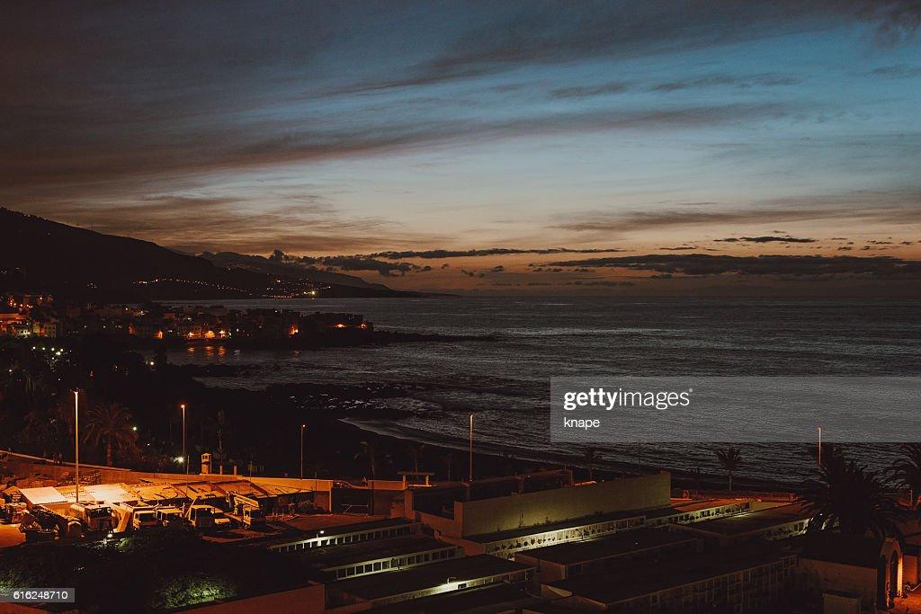 Night in Puerto de la Cruz in Tenerife Spain : Foto de stock