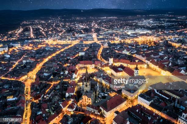 night in sibiu - romania stock pictures, royalty-free photos & images