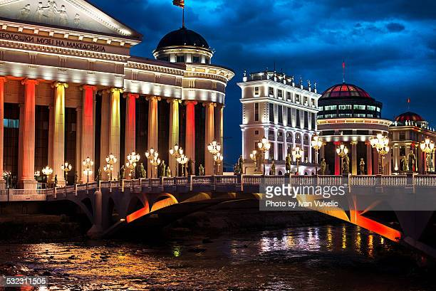 night in skopje - skopje stock pictures, royalty-free photos & images