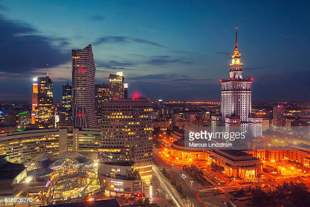night in warsaw - poland stock pictures, royalty-free photos & images