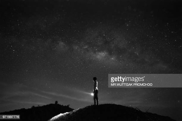 night landscape milky way. - mystery stock pictures, royalty-free photos & images