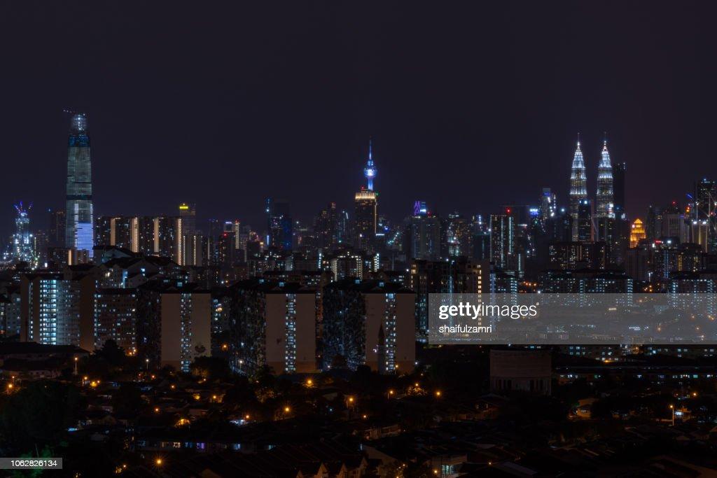 Night landscape view over downtown Kuala Lumpur, Malaysia. : Stock Photo