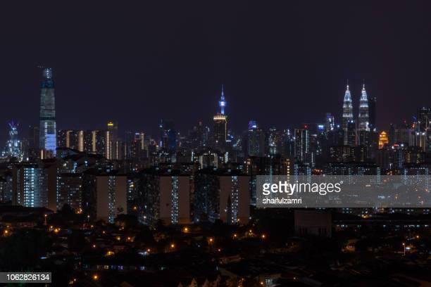 Night landscape view over downtown Kuala Lumpur, Malaysia.