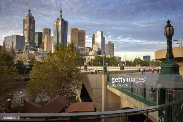 Night light with urban life near South bank area close yarra river with Building