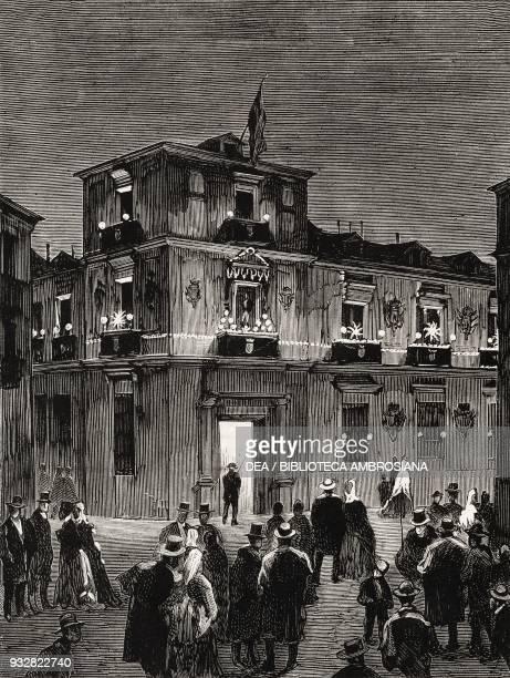 Night lighting of the Provincial Deputation building, celebrations honouring King Alfonso XII, Madrid, Spain, illustration from La Ilustracion...