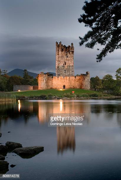 Night lights of Ross castle on the edge of lough Leane in Killarney.