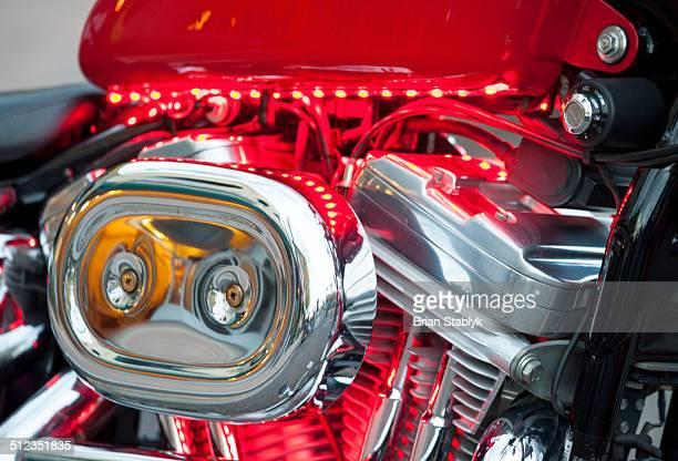 Night lights on motorcycle engine
