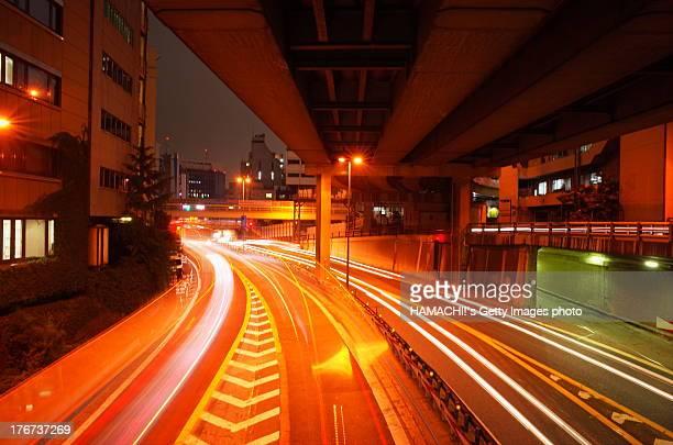 night lines on highway