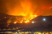 Night long exposure photograph of the Santa Clarita wildfire