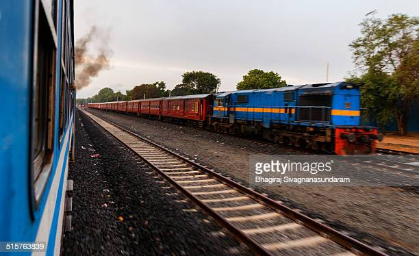 A night mail train at Kilinochchi railway station as seen from yal devi train Sri Lanka