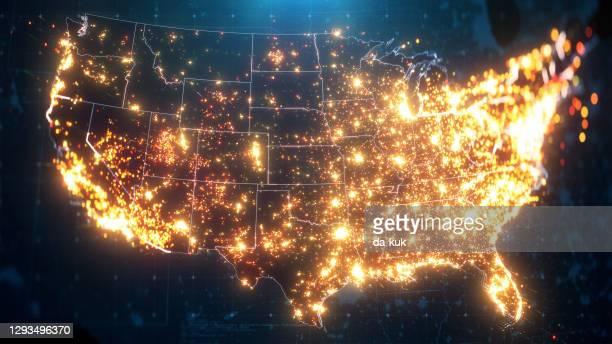 nachtkaart van de v.s. met de verlichting van de stad - verenigde staten stockfoto's en -beelden