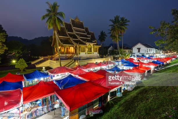 Night market and Haw Pha Bang temple in Luang Prabang