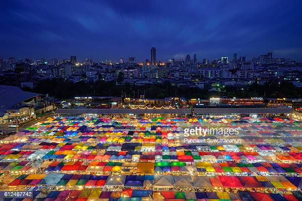 Night market in Bangkok city