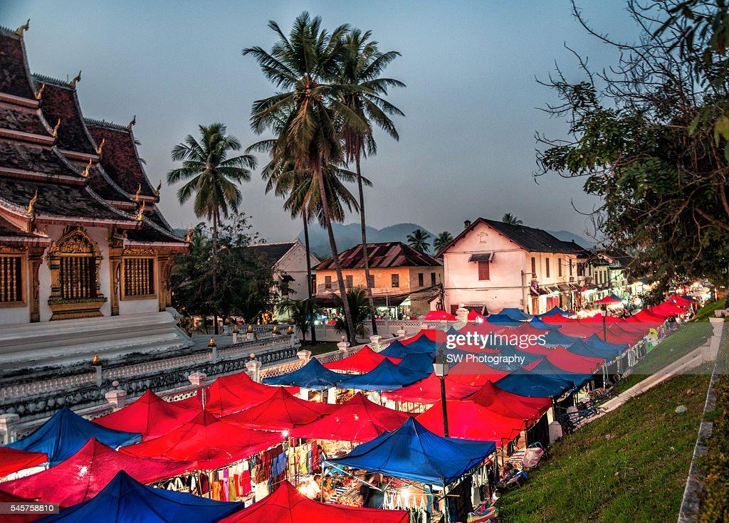 Night market in Luang Prabang, Laos, Asia : Stock Photo