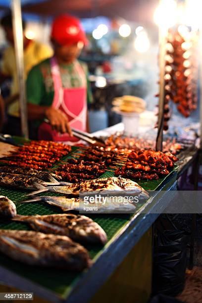 night market, kota kinabalu. - sabah state stock pictures, royalty-free photos & images