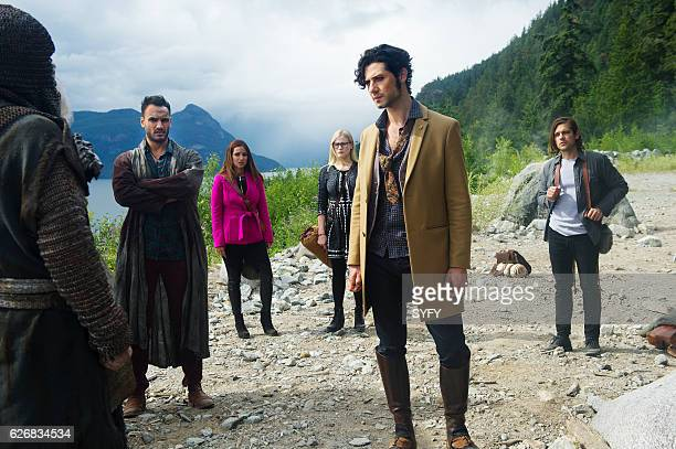 THE MAGICIANS Night of Crowns Episode 201 Pictured Arjun Gupta as Penny Summer Bishil as Margo Olivia Taylor Dudley as Alice Hale Appleman as Eliot...