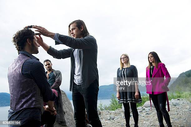 THE MAGICIANS Night of Crowns Episode 201 Pictured Hale Appleman as Eliot Arjun Gupta as Penny Jason Ralph as Quentin Olivia Taylor Dudley as Alice...