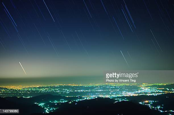 night of taichung city - star trail stock pictures, royalty-free photos & images
