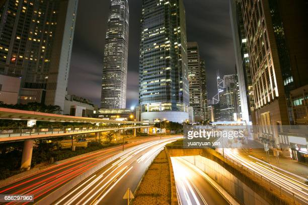 Night of the hongkong urban road