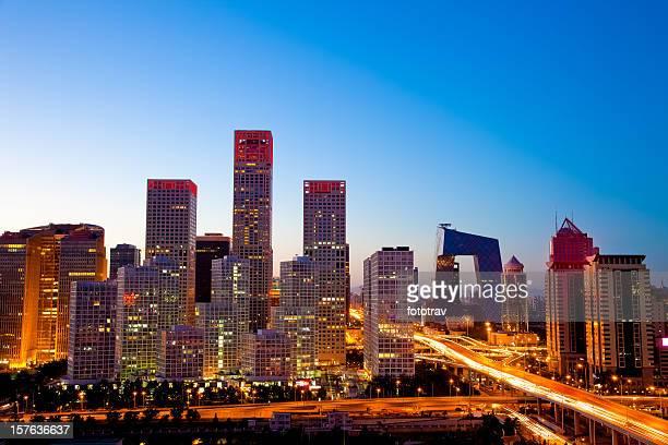 Nacht in Peking, Central Business district Gebäuden, China Stadt skyline