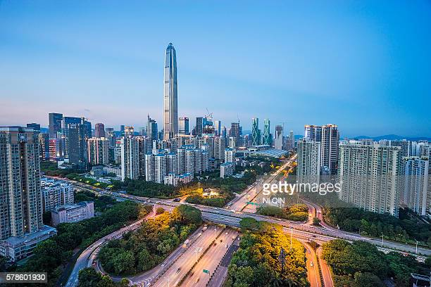 night on china shenzhen - shenzhen stock pictures, royalty-free photos & images
