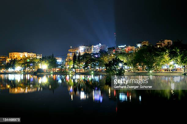 Night on Hoan Kiem Lake, Hanoi Vietnam, Southeast Asia