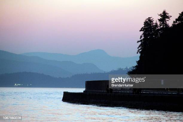 night on the seawall - seawall stock pictures, royalty-free photos & images