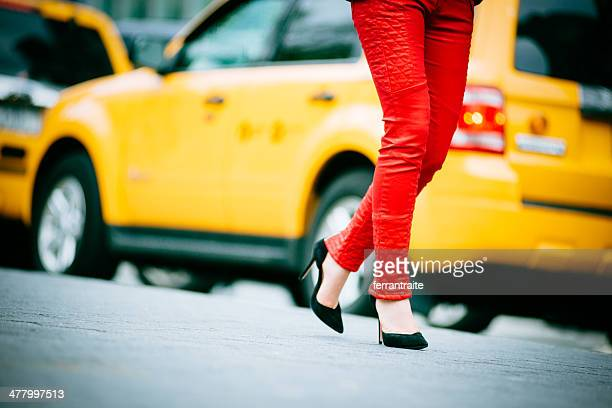 night out in new york - red pants stock pictures, royalty-free photos & images