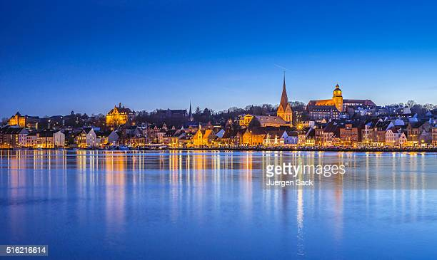 night over flensburg and flensburg fjord - denmark stock pictures, royalty-free photos & images