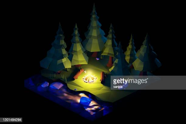 night over the camping bonfire. isometric low poly composition. - isometric stock pictures, royalty-free photos & images