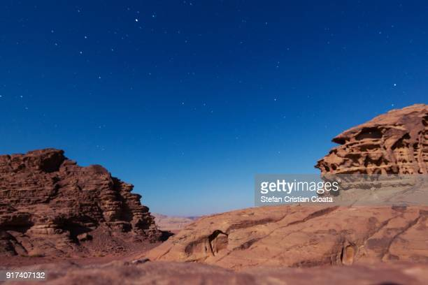Night over Wadi Rum desert