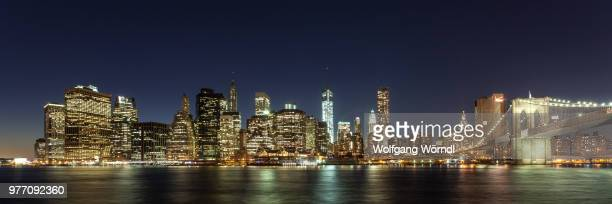 night panorama of lower manhattan, new york city, new york state, usa - wolfgang wörndl stock pictures, royalty-free photos & images