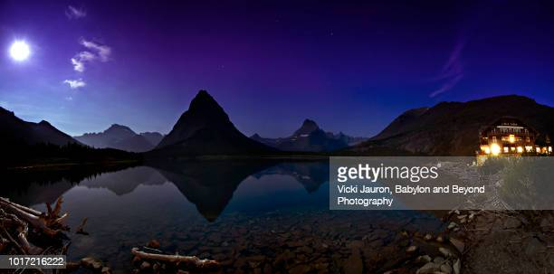 Night Panorama of Many Glacier Hotel and Swiftcurrent Lake at Glacier National Park