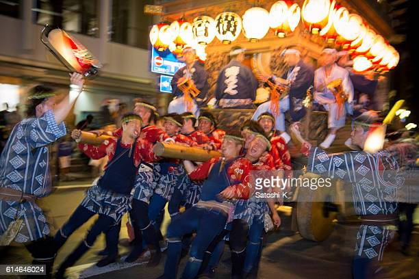 Night parade with huge festival float - Sawara Autumn Festival