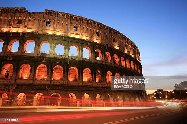 A night photo of the Coliseum in Rome, Italy
