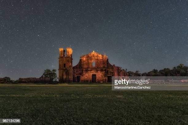 night photo of the ruins of são miguel das missões, rio grande do sul, brazil - south stock pictures, royalty-free photos & images